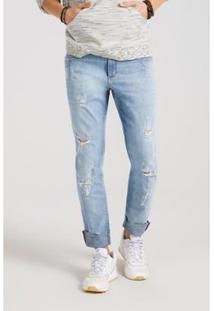 Calça Docthos Jeans Estonada Destroyed - Masculino-Azul+Preto