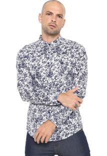 Camisa Cavalera Reta Floral Branca