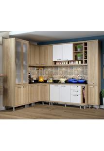Cozinha Completa Com Balcão Com Tampo 11 Peças 16 Portas Sicília Multimóveis Argila/Branco