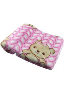 Cobertor Para Bebê Ursinha Bolinhas Rosa Etruria Rosa