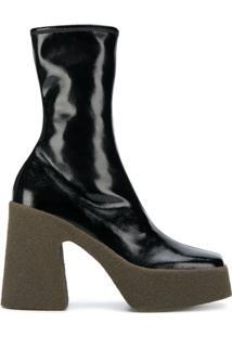 Stella Mccartney Ankle Boot Com Plataforma - Preto