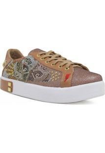 Tênis Casual Zariff Shoes Flatform Metais Feminino - Feminino-Marrom