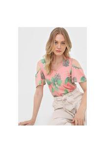 Blusa Malwee Off Shoulder Floral Rosa