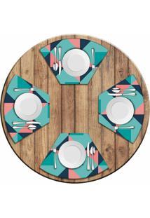 Jogo Americano Love Decor Para Mesa Redonda Wevans Abstract Blue Kit Com 4 Pçs