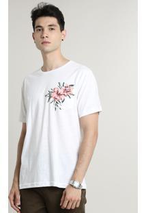 Camiseta Masculina Com Bolso Tropical Manga Curta Gola Careca Off White