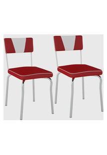 Kit Com 2 Cadeiras Retrô Corino Vermelho C/ Det Branco/Cromado Pozza