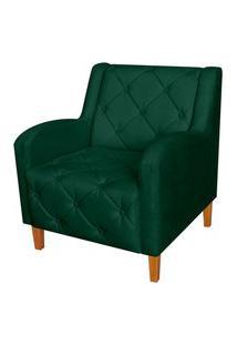 Poltrona Decorativa Munique Pés Trapézio Suede Verde - Ds Estofados