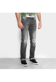 Calça Jeans Slim Colcci Alex Estonada Rasgos Joelho Masculina - Masculino