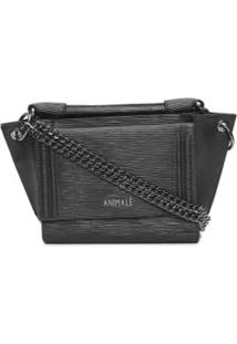 Bolsa Leather Textura Animale - Preto