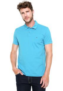 Camisa Polo Aramis Bordado Fenda Azul