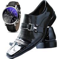 305482458e Kit Sapato Social Verniz Com Relógio Gofer 10056L Preto