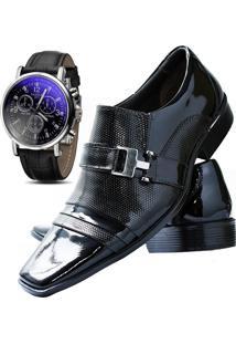 d157e66d62 ... Kit Sapato Social Verniz Com Relógio Gofer 10056L Preto
