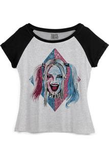 Camiseta Dc Comics Bandup! Raglan Esquadrão Suicida Harley Quinn Puddin - Feminino-Cinza+Preto
