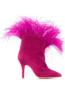 Paris Texas Ankle Boot Com Detalhe De Plumas - Rosa