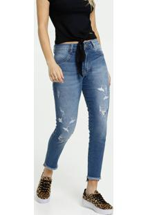 Calça Jeans Destroyed Cigarrete Feminina Bordada Biotipo