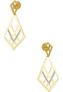 Brinco De Ouro Joiasgold 18K Fios Vazados Rodinados - Feminino-Dourado