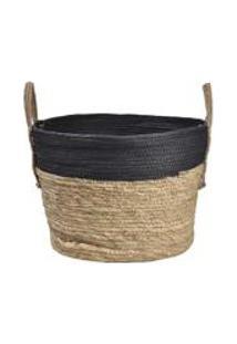Cesto Em Seagrass Com Alca 24X30Cm Enjoy Marrom/Preto