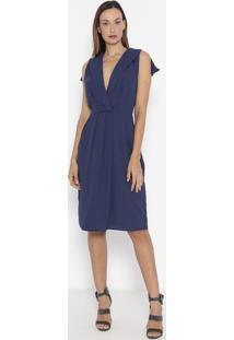 Vestido Com Transpasse - Azul Escuro - Ennaenna