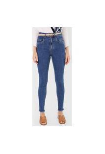 Calça Jeans Maria Filó Skinny Pespontos Azul