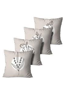 Kit 4 Capas Para Almofadas Decorativas Flores Minimalistas 45X45Cm