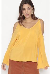 Blusa Com Strass & Recorte Vazado Em Seda- Amarela- Bobstore
