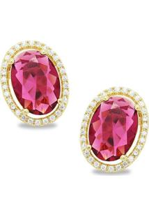 Brinco Royalz Semi Joia Dourado Cristal Izabella Pink Dourado