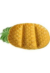 Bandeja Decor Cermica Pineapple, Urban, 40112, Amarelo, 36X24X4 Cm