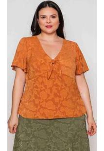 Blusa Almaria Plus Size Pianeta Crepe Açafrão Laranja