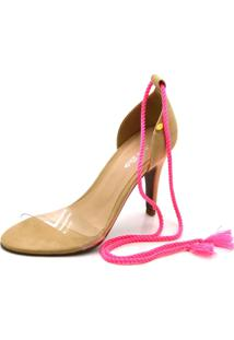 Sandália Salto Alto Flor Da Pele 1724 Pink
