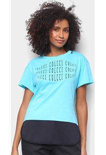 Camiseta Colcci Eye Feminina - Feminino-Azul Petróleo