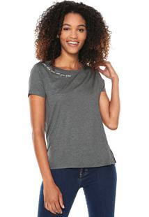 Camiseta Lunender Bordada Cinza