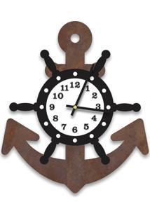 Relógio De Parede Decorativo Escultura Âncora Corten Com Timão E Números Relevo 35X40Cm Médio