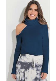 Blusa Com Gola Alta E Ombro Vazado Azul