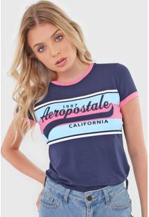 Camiseta Aeropostale Lettering Azul-Marinho/Rosa
