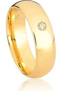 Aliança De Ouro 18K Larga Polida Anatômica Abaulada Com Diamante-Alianças Exclusivas Coliseu(6,00Mm)