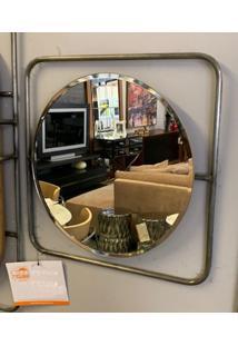 Espelho App Redondo Base Quadrada Metalica 48 Cm (Larg) - 50458 - Sun House