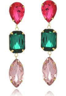 Brinco Le Diamond Cristais Multicoloridos - Tricae