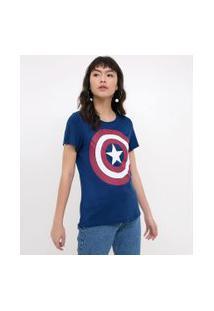 Blusa Com Estampa Capitão América | Blue Steel | Azul | P