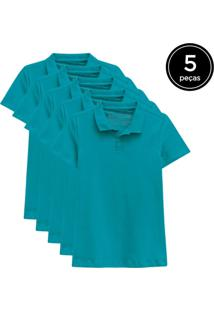 Kit Basicamente. 5 Camisas Polo Verde