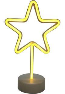 Luminária De Mesa Neon Adoraria Estrela Amarelo