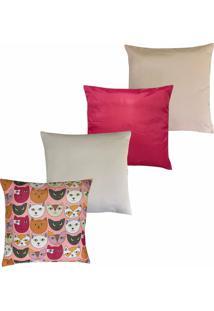 Kit Com 4 Almofadas Com Capas Hong Kong Douvelin Pink - Tricae