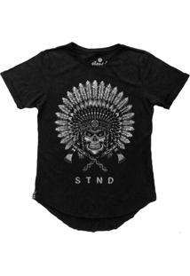 Camiseta Stoned Longline Indian Skull Preta