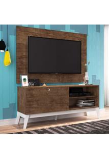 Rack Com Painel Para Tv Até 49 Polegadas Corfu Marrom E Branco 136 Cm