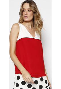 Blusa Com Recortes Em Crepe- Vermelha & Branca- Milimiliore