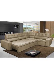 Sofa De Canto Retrátil E Reclinável Com Molas Cama Inbox Austin 3,85X2,64 Ou 2,64X3,85 Suede Velusoft Castor