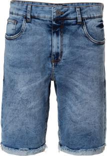 Bermuda John John Clássica Vidal Moletom Jeans Azul Masculina (Jeans Claro, 42)