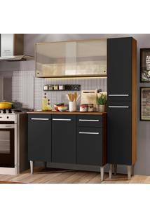 Cozinha Compacta Madesa Emilly Force Com Armário, Balcão E Paneleiro - Rustic/Preto Marrom