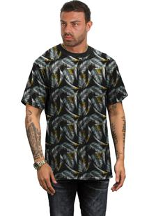 Camiseta Di Nuevo Penas De Ganso Douradas Verão 19 Preta