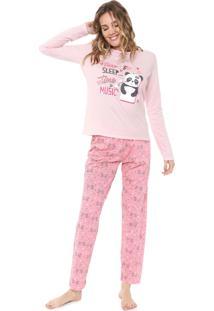 Pijama Malwee Liberta Panda Rosa