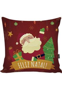 """Capa Para Almofada """"Feliz Natal""""- Vermelho Escuro & Verdstm Home"""